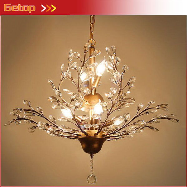 American Crystal Chandeliers European Luxury Retro Pendant lamp Living Room Dining Room Iron Chandelier LED E14 Lighting modern crystal chandelier led hanging lighting european style glass chandeliers light for living dining room restaurant decor