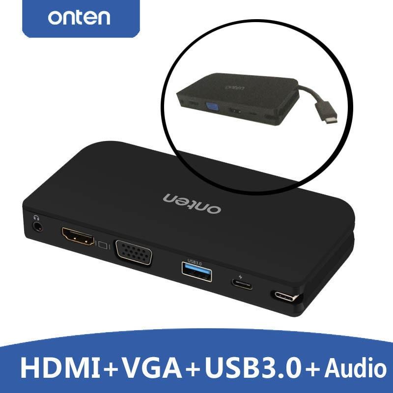 TYPE C vers HDMI VGA USB 3.0 hub Audio adaptateur vidéo convertisseur pour macbook pour Google Chromebook Pixel à tv projecteur