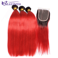 Beaudiva事前に着色ブラジルストレート髪バンドルクロージャー安い人間の髪バンドルで閉鎖1b/赤ストレート