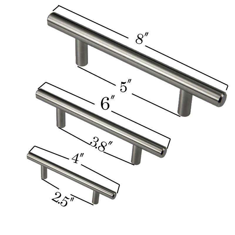 Diameter 10mm Stainless Steel Kitchen Door Cabinet T Bar Handle Pull Knob 4″ 6″ 8″