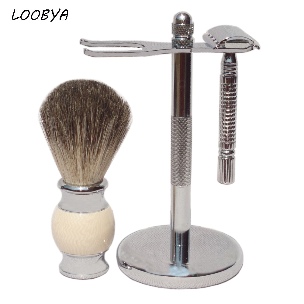 3pc / set Stainless Steel Badger Shaving Brush Safety Razor Stativhållare
