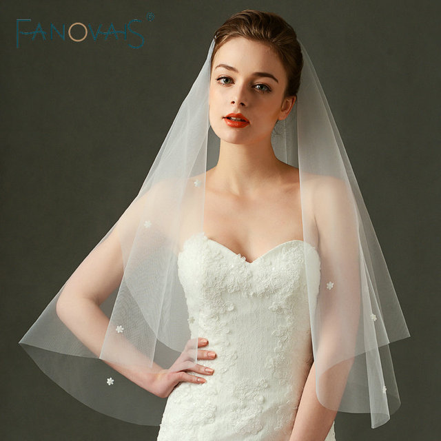 2019 Short Bridal Veils Flowers Decoration Wedding Veil Cheap Veil for Wedding Without Comb Wedding Accessories