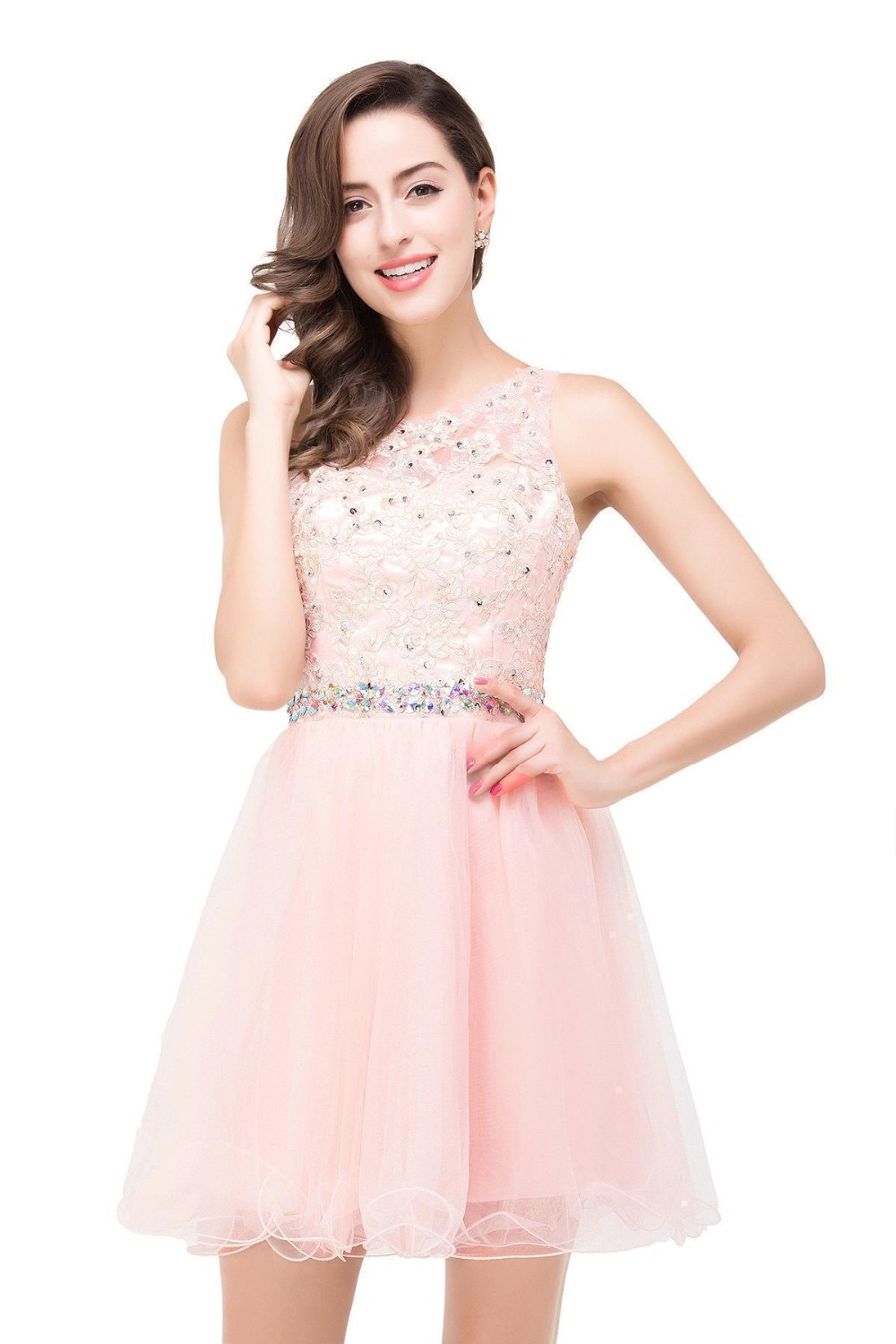 Babyonline Pink Beaded Homecoming Dresses 2017 Scoop Neck Soft Tulle Party  Dresses Mini Dress Black Lace Graduation Dresses b451cab33bbc