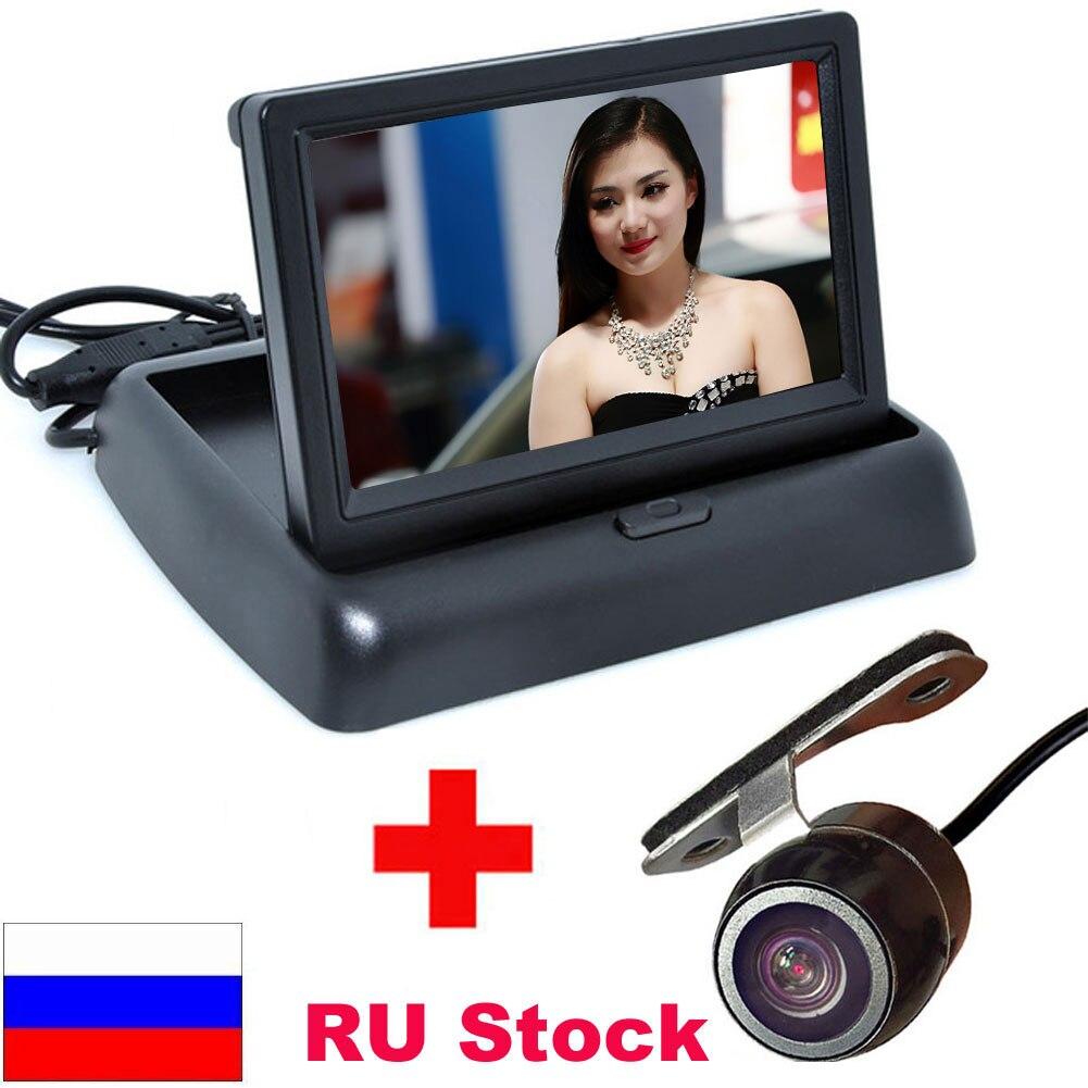 Haute Résolution 4.3 couleur TFT LCD Pliant De Voiture Aide Au Stationnement Moniteurs DC 12 V Pliable Voiture Moniteur Avec Caméra de Recul