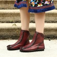Artdiya Original Autumn and Winter New Genuine Leather Handmade Women Boots Soft Sole comfortable Flat Heels Ankle 8819