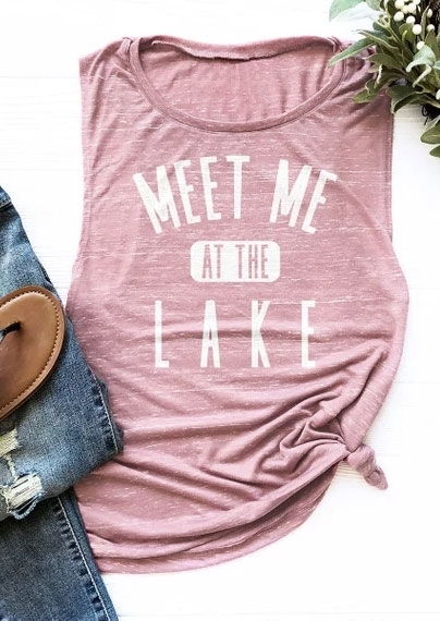 Fashion   Tank     Tops   Women Summer Sleeveless   Tops   Tee Meet Me At The Lake Letter Print   Tank   Pink 2018 Female   Tank   Ladies   Tops   Tee