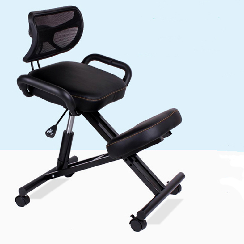 H Ergonomically Designed Knee Chair With Back And Handle Office Kneeling Chair Ergonomic Posture Leather Black Chair With Caster