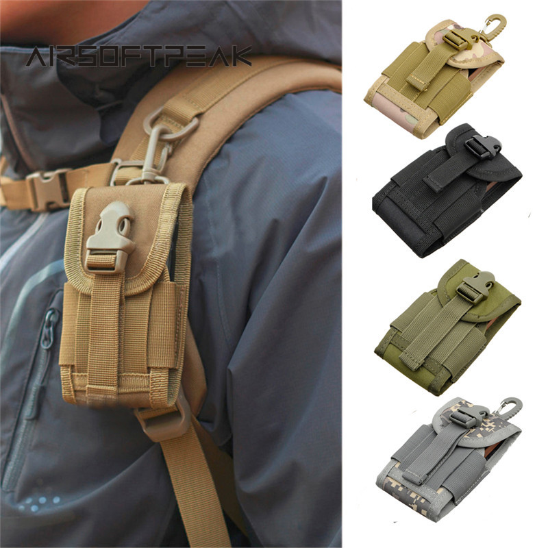AIRSOFTPEAK 4.5 Inch Nylon Phone Pouch Durable Hook Cover Case Tactical Bag Attachable Molle Belt Cellphone Pouches Universal