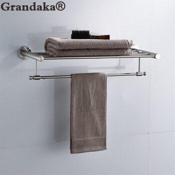 SUS 304 Brushed Stainless Steel 60cm Brief Bathroom Towel Racks With Towel Bar  Bathroom Double Towel Holder