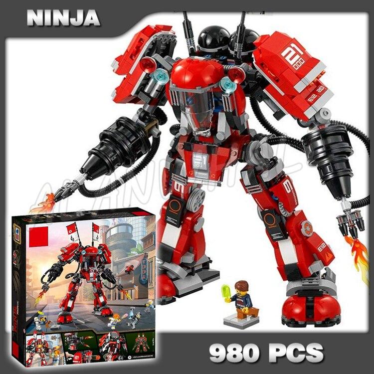 980pcs New Ninja Fire Mech Battle Huge Red Robots Flame 10720 Model Building Blocks Assemble Toys Bricks Compatible With
