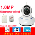 X7600 163eye 2CU yoosee app P2P camera 1MP motion detection wifi camera 720P 433mhz door sensor activated IP camera baby monitor