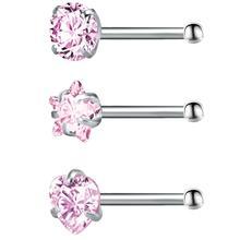 3 sztuk dużo gwiazda Rhinestone nos szpilki Bar 316 ze stali nierdzewnej nos Piercing Pin kolczyki kryształowe Nariz w nosie moda biżuteria tanie tanio Ciało biżuteria TRENDY Nowy Kolczyki w nosie i szpilki imixlot