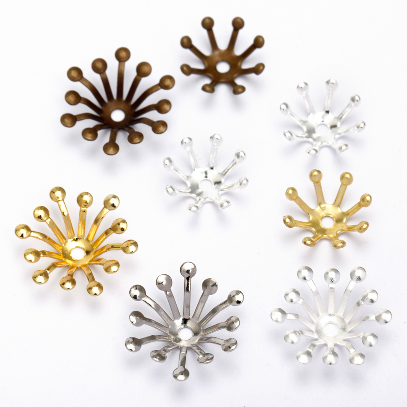 BASEHOME 100pcs 10mm/13mm Filigree Jewelry Spacer Flowers Motif Charms Loose Bead End Caps for DIY Jewelry Accessories