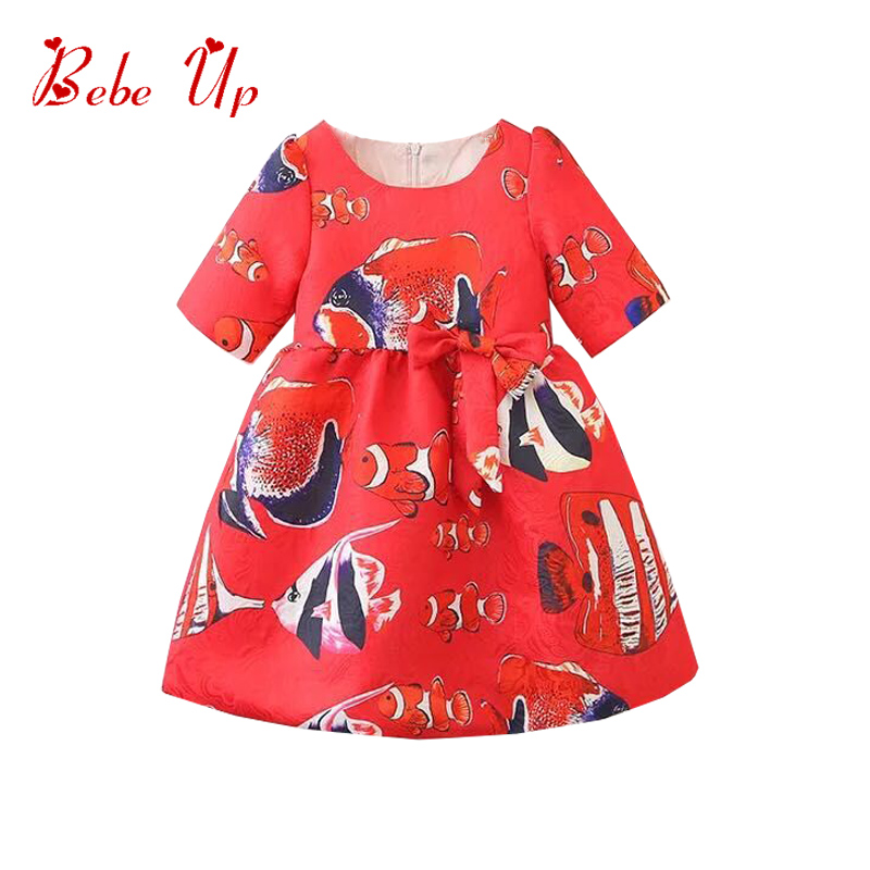 Toddler Girls Boutique Dress Summer Spring Dresses For Girls Animal Sea Fish Print Children Party Dress Red Kids Trendy Clothes