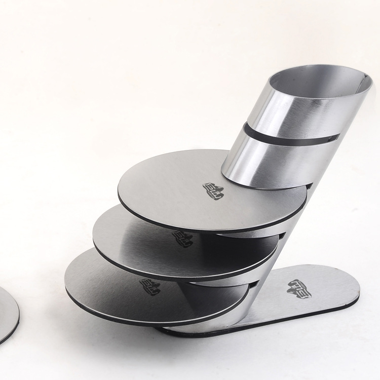 1set New Fashion Stainless Steel Wine Cup Mat wine Coaster Heat Insulation Tea Cup Pad Bar Tools Kitchen Tool KJ 3010