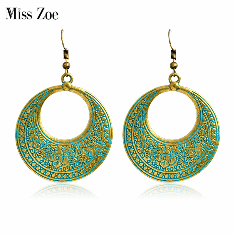 Miss Zoe Vintage Fashion Hollow Round BOHO Pendientes colgantes Bohemia Ethnic Vintage Charm Pendientes BOHO Beach Holiday