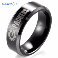 SHARDON Rings Sporty Men Ring Black Beveled Two Toned 8mm Tungsten Ring NFL Football Green Bay