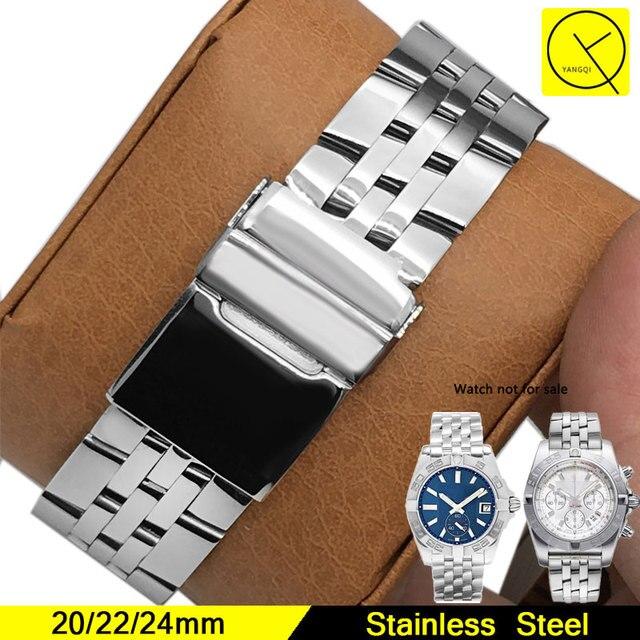 a2ca929c4a3 Pulseira de Aço inoxidável para o Homem Faixa de Relógio Breitling para  Acessórios Cinta 20mm Watchstrap