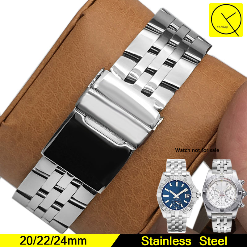 Stainless Steel Watchband for Man Watch Band for Breitling Strap Accessories 20mm Watchstrap Bracelet Wrist Watch Replacement stylish 8 led blue light digit stainless steel bracelet wrist watch black 1 cr2016