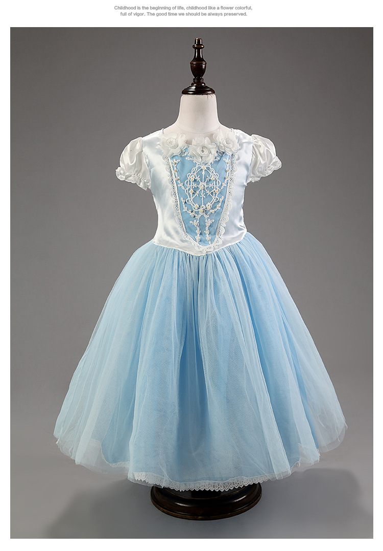 Brand Cinderella Dress Halloween Girls Princess Dress+Shawl Fairy ...