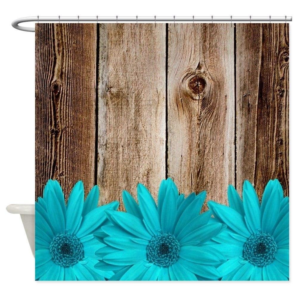 Rustic Barn Wood Teal Daisies - Decorative Fabric Shower Curtain (69x70)
