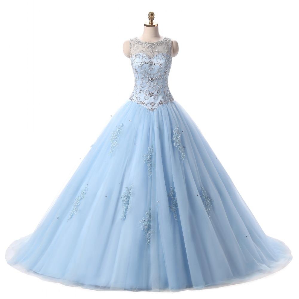 Light Sky Blue Pink Ball Gown Quinceanera Dress Heavy