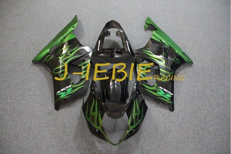 Black green fire Injection Fairing Body Work Frame Kit for SUZUKI GSXR 1000 GSXR1000 K3 2003 2004