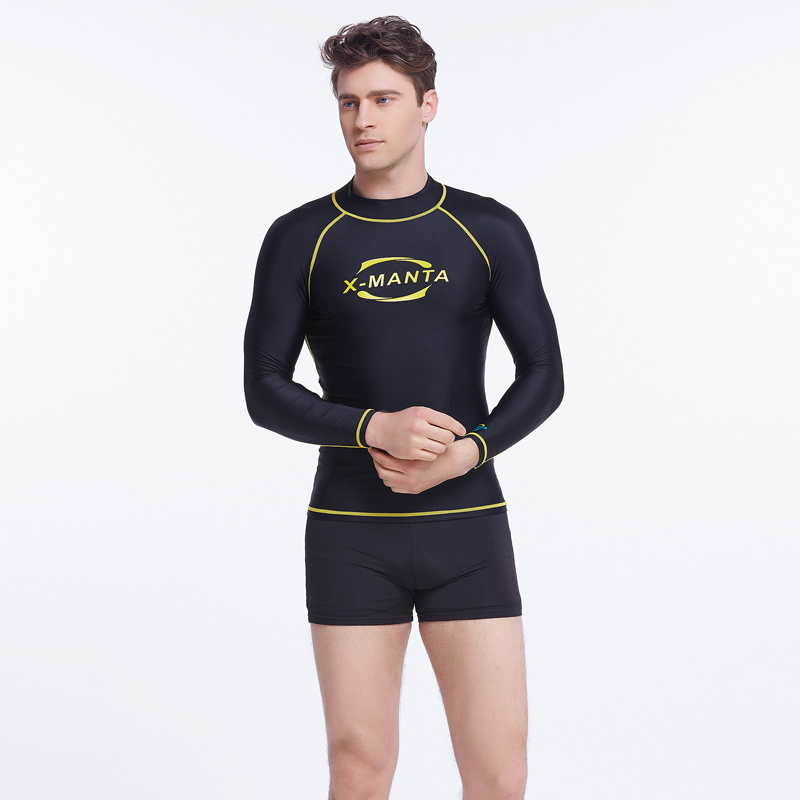 2016 Hot Sale Long Sleeve Letter Print Rash Guard Swimwear Men Surf Diving Tops Man Summer Sun-Protective Sports Swim Suit