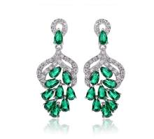 Luxury AAA Cubic Zirconia Clear Blue Green Red color T shaped drop earrings  dress patry accessaries shinning For Women Gift E191 209f24f89830