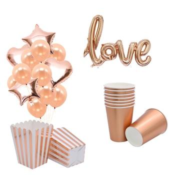 Rosa dorados fiesta decoración Globo de oro rosa desechables mantel toalla de papel Copa Oro rosa boda decoración de cumpleaños