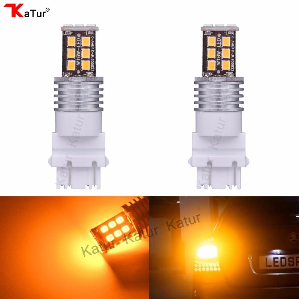 Katur 2PCS 3057 3157 LED Bulbs P27W T25 LED Turn Signal Light Brake Light Bulbs High Power 2835 15SMD DC12V White Red Yellow