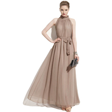 Лидер продаж 2017 Женское платье Элегантный богемный пляж Средства ухода за кожей Шеи Сексуальное Платье Макси шифон Холтер длинное платье DR410