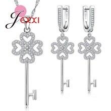 JEXXI Luxury Bridal Wedding Engagement Jewelry Set For Women Key Design Clear Cubic Zircon Rhinestone S90