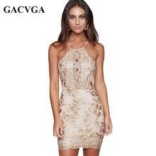 GACVGA Brand 2019 Sexy Halter Embroidery Floral Summer Dress Vintage Bandage Women Off Shoulder Bodycon Party Dresses Vestidos