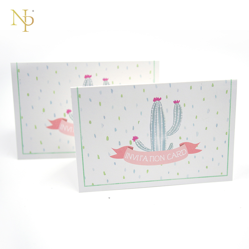 Nicro 5/10Pc DTY Cactus Invitation Card Folding Type Baby Shower/Cactus Theme/Fiesta Party/New Baby Invitation Card Size 15*20cm цена и фото