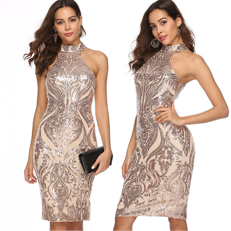Sexy Women Sparkling Sequin Dress Slim Geometry Sleevesless Mini Bodycon Dress Nightwear Elegant Evening Party Dresses Female