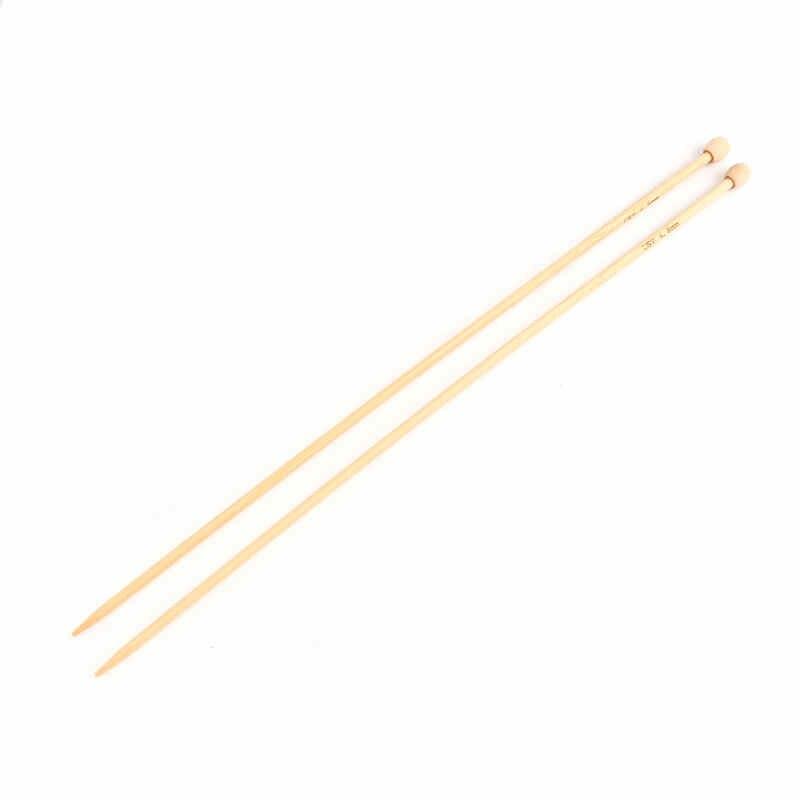 """DoreenBeads Новинка 4,5 мм бамбуковые одиночные острые спицы натуральное вплетение свитер DIY инструмент 34 см (13 3/8 """") длинные, 1 комплект (2 шт./компл.)"""