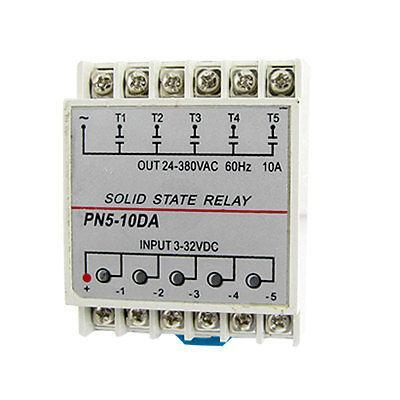 DC to AC Five 5 Phase Solid State Relay SSR 10A 3-32V DC 24-380V AC dc ac single phase ssr solid state relay 120a 3 32v dc 24 480v ac