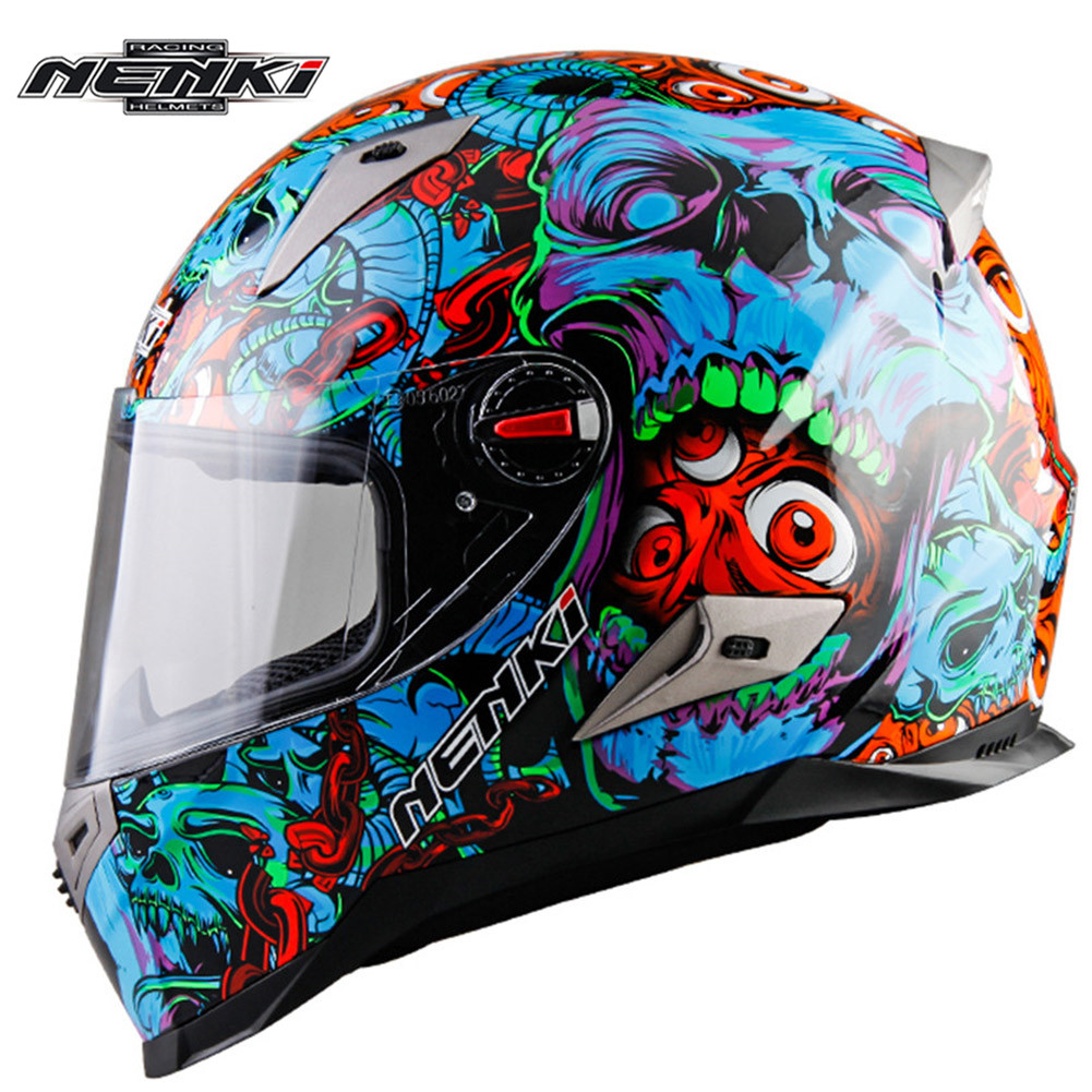 Full Face Motorcycle Helmet NENKI 863-1 Men's Race Capacetes de Motociclista Moto Helmets for Motorcycle Racing Helmets nenki motorcycle helmets motocross racing helmet motorbike full face helmet capacete de moto for men and women 13 color