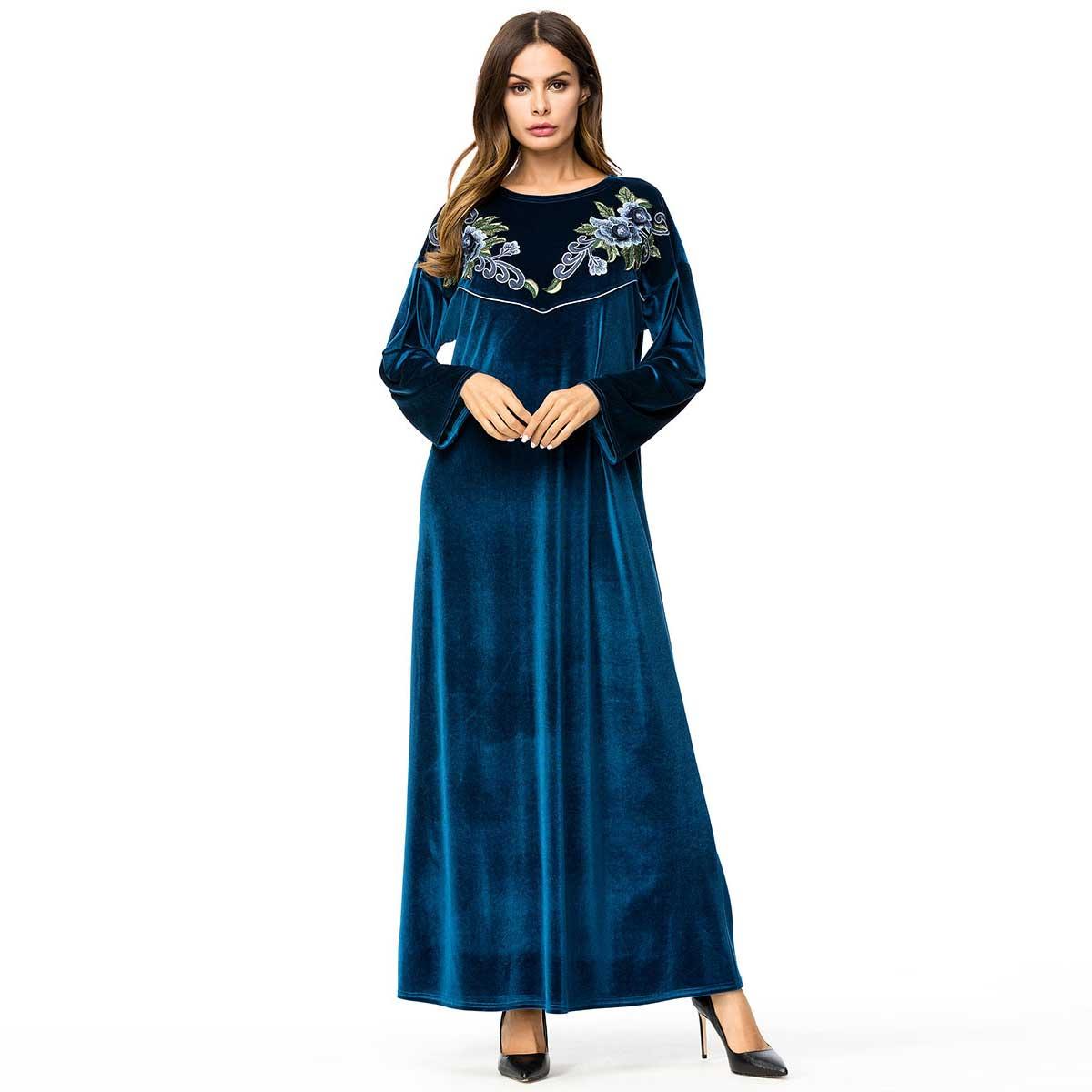 45ccf109ac De otoño invierno Dubai Abaya vestido de terciopelo bordado Floral musulmán  hijab islámica árabe de las mujeres thoub túnica túnicas VKDR1370 ...