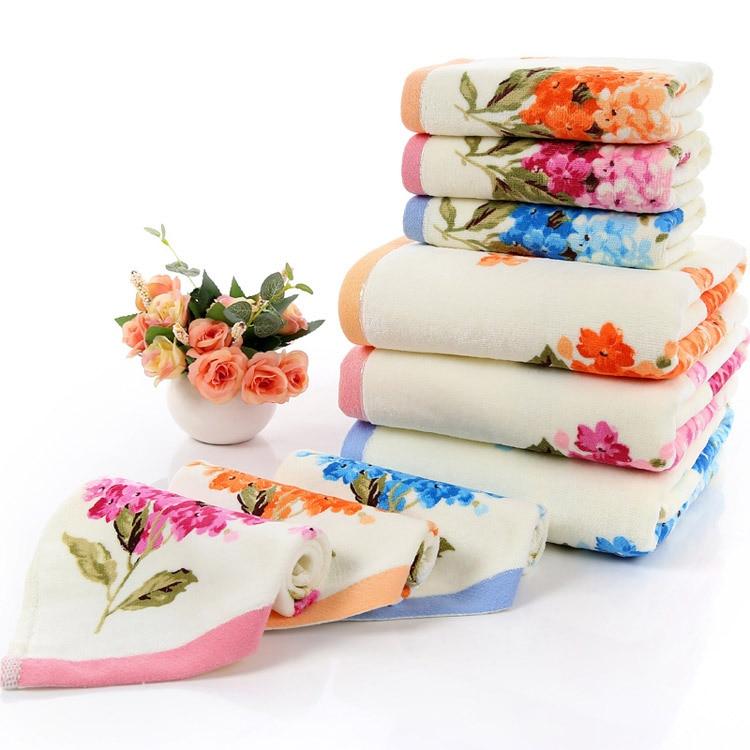 2018 New 3pcs/set towel set fashion flowers printed soft Home Terry 100% cotton Face towel 2pcs and bath towel 1pc drop ship