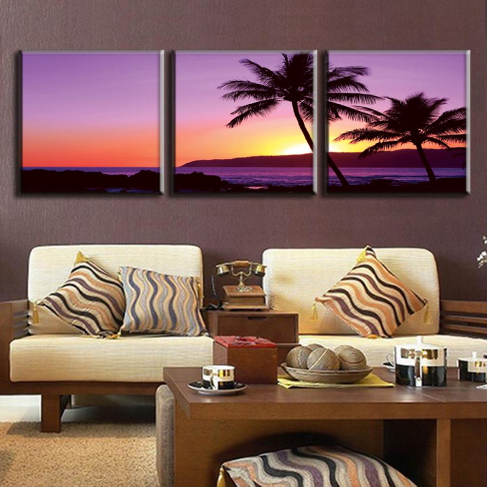 Framed 3 pcs set modern purple seascape painting prints on for Hotel wall decor