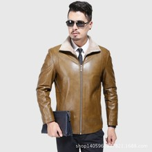 Brand 2017 New Winter Best Selling Fashion Genuine Leather Jacket Men Good Quality Casual Slim Mens Warm Fur Jacket Coat M-XXXL