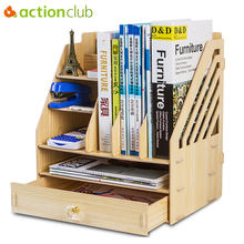 Actionclub DIY Desktop Book Shelf Desktop Storage Box Documents Books Storage Multi-layer Finishing Rack Office Supplies(China)