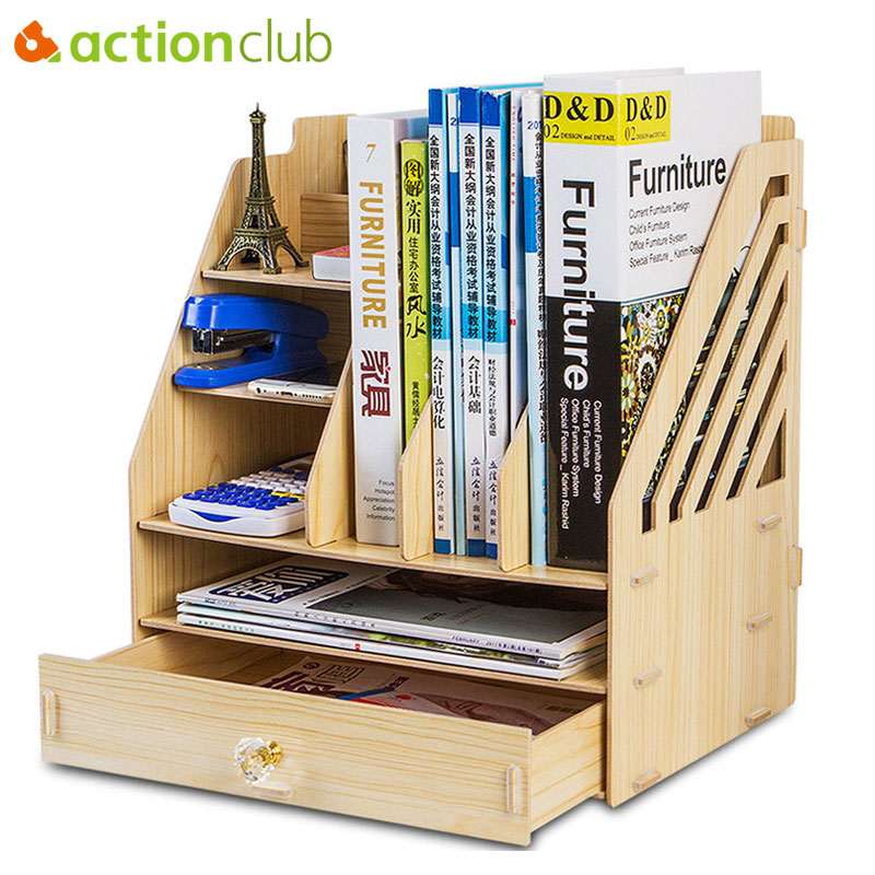 Actionclub DIY Desktop Book Shelf Desktop Storage Box Documents Books Storage Multi-layer Finishing Rack Office Supplies ...