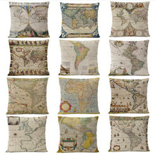 Retro Ancient World Map Pillow Cover Cushion Cover Home Decorative Pillows Linen PillowCase Office Sofa Cushion Cover retro world map pattern flax square shape pillowcase without pillow inner