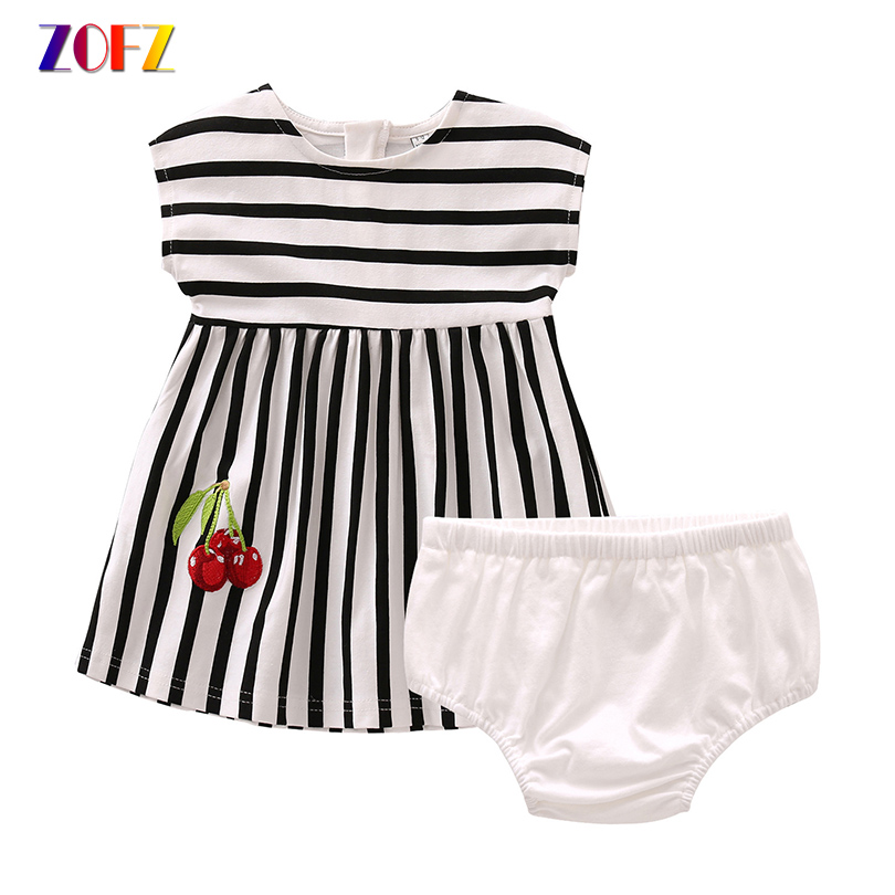 ZOFZ Kids Clothes Cherry Striped Dress With Underwear 2Pcs Children Sets Short Sleeve A Line Dresses Baby Girls Summer Clothing