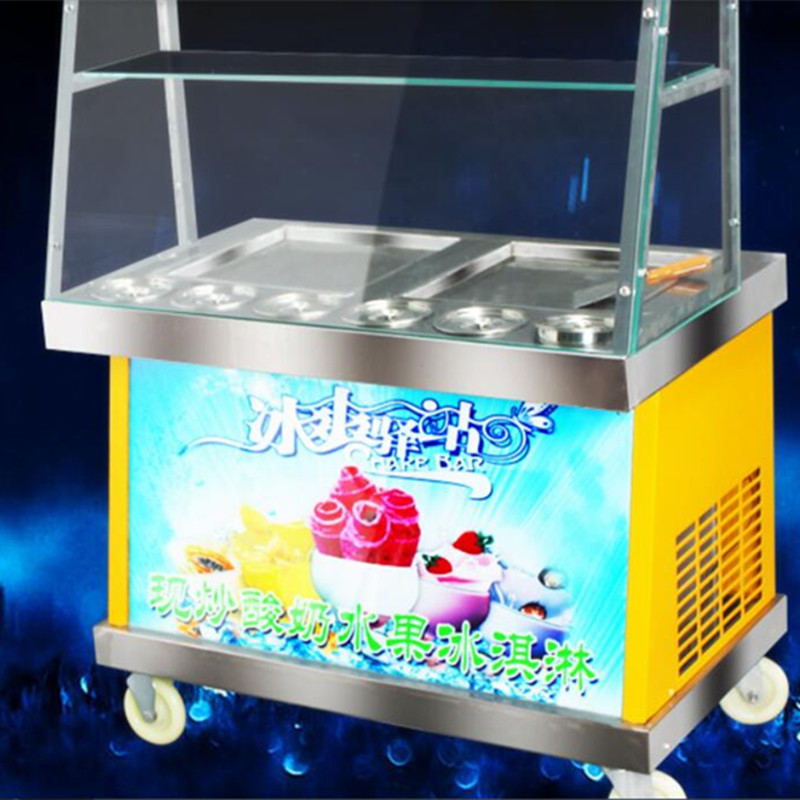 2016 newest LED lighting double square pan 6  buckets fried ice cream roll machine, Fried ice pan machine,R22 frying ice machine double pressure ice frying machine double pan fried ice cream machine