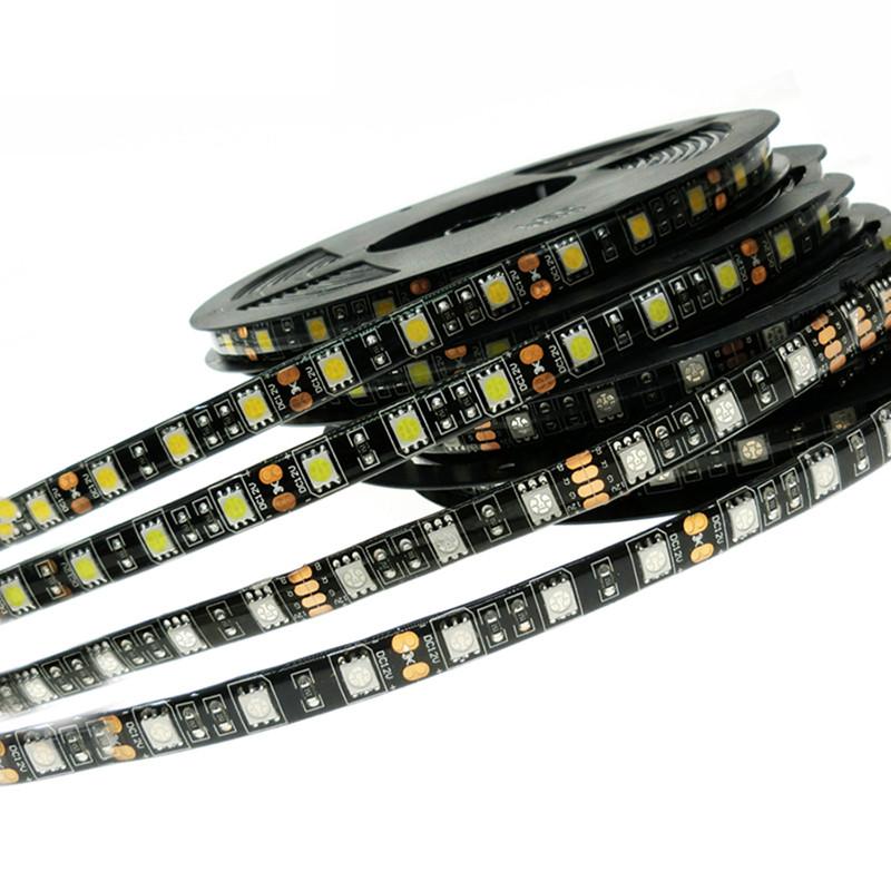 Black-PCB-5M-Led-Strip-Light-5050-RGB-300-Leds-Waterproof-IP65-DC12V-Flexible-LED-Car
