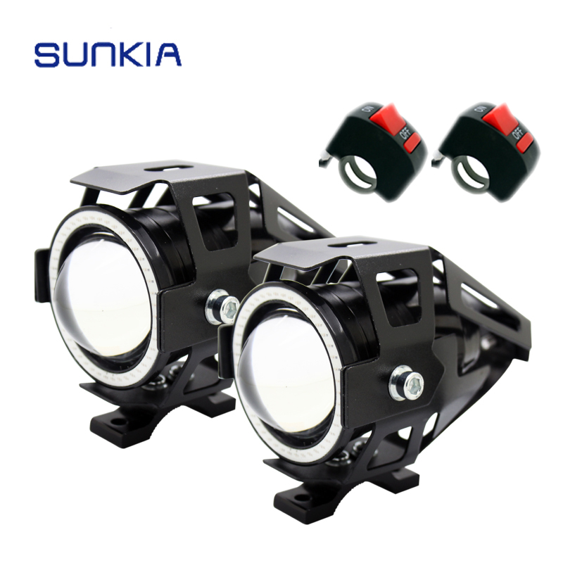 2 Unids / par SUNKIA Motocicleta LED Faros antiniebla con interruptor CREE Chip U7 125W 3000LM Devil Angel Eye Black Case DRL